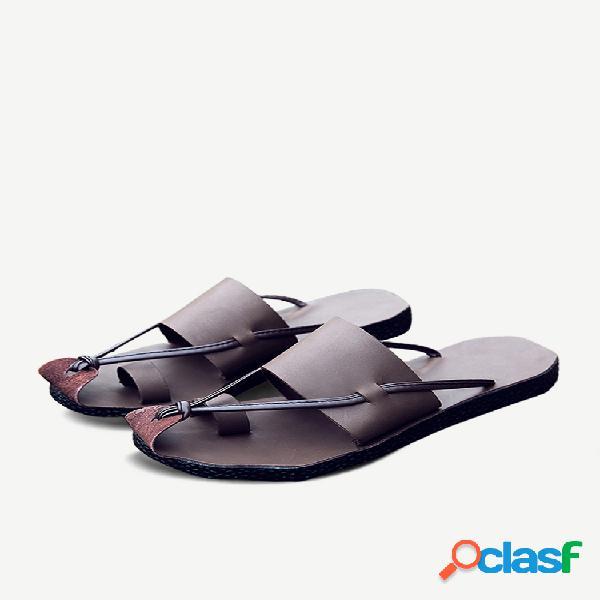 Masculino genuíno óleo couro toe sandálias protetoras comfy soft chinelos d'água