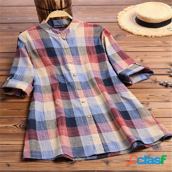 Blusa de mangas compridas xadrez multicolorida com estampa vintage