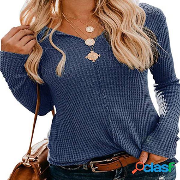 Blusa de tricô cor sólida manga comprida com decote em v para mulheres