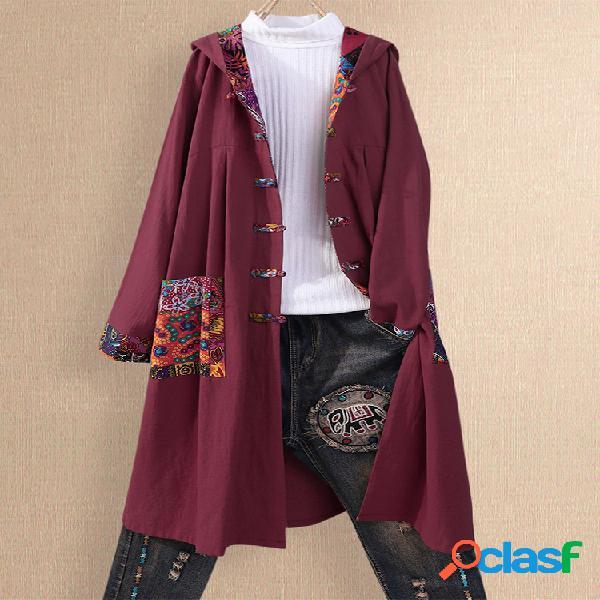 Casaco de lã com capuz de botão de patchwork vintage plus tamanho