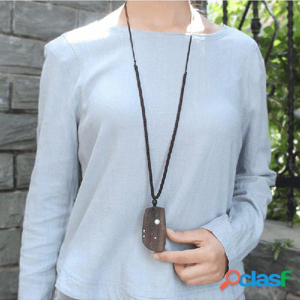 Colar étnico feito à mão de madeira geométrica pingente colar com corrente de suéter longo retrô