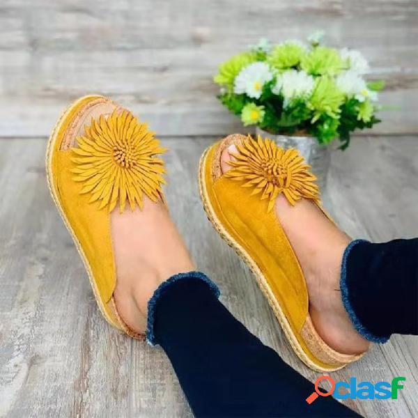 Tamanho grande mulheres casuais flores abertas toe chinelos de plataforma