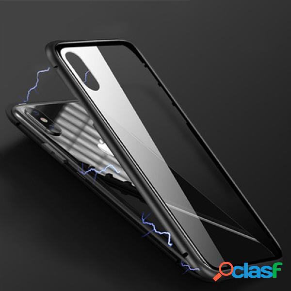 Armação de metal magnética de vidro temperado transparente frente e verso para telefone caso
