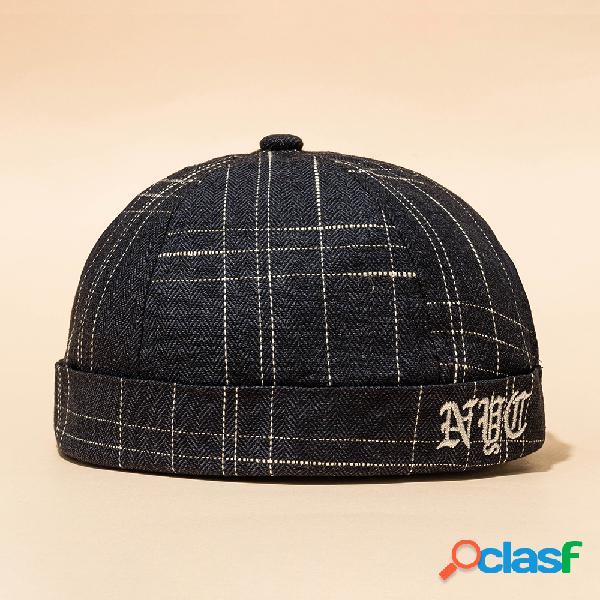 Novo avene estilo casual rua retro hip hop caveira bonés vintage listra brimless chapéus