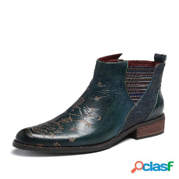 Retro flower padrão costura couro genuíno elástico banda botas de tornozelo com zíper