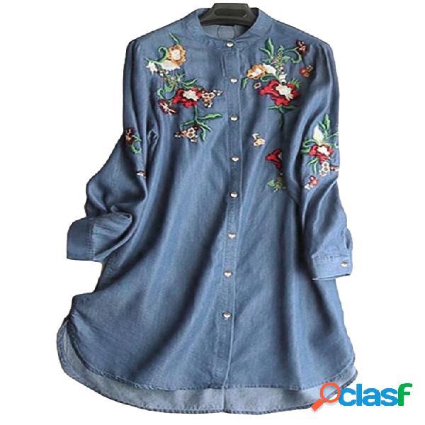 Blusa bordada colarinho irregular manga comprida vintage