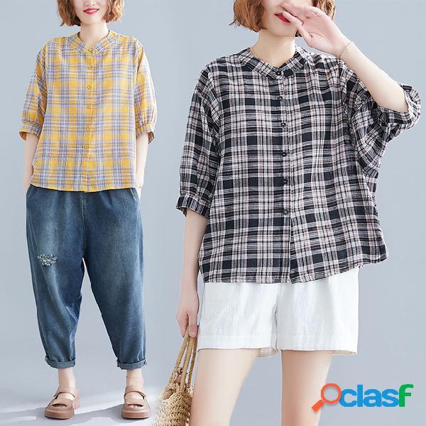 Camisa xadrez feminino curto-manga nova solta casual tamanho grande camisa selvagem manga camisa maré