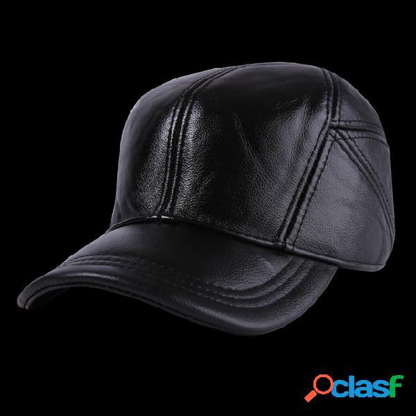 Couro chapéu couro de couro novo chapéu masculino couro chapéu de basquete esporte ao ar livre ajustável