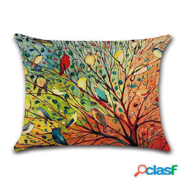 Impressão em aquarela de pássaros linho florestal de algodão capa de almofada para sofá doméstico arte decoração assento fronha