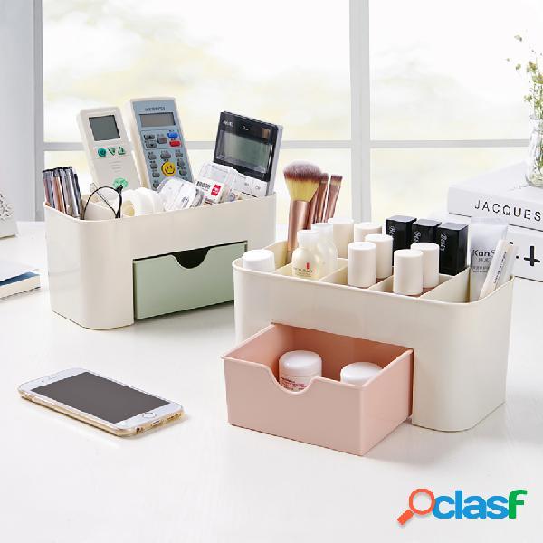 Armazenamento cosmético plástico multifuncional caixa jóias caixa com gaveta pequena mesa de armazenamento caixa