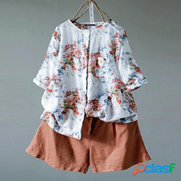 Blusa de botão com estampa floral 3/4 vintage
