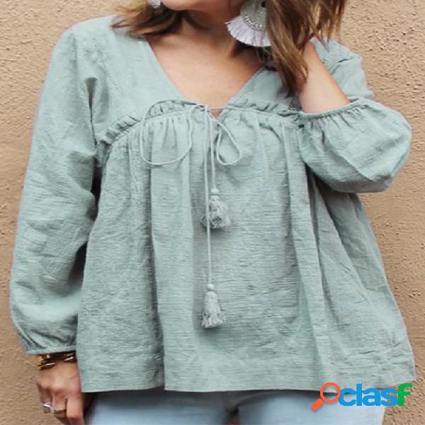 Blusa solta para mulheres com curativo de cor sólida manga comprida