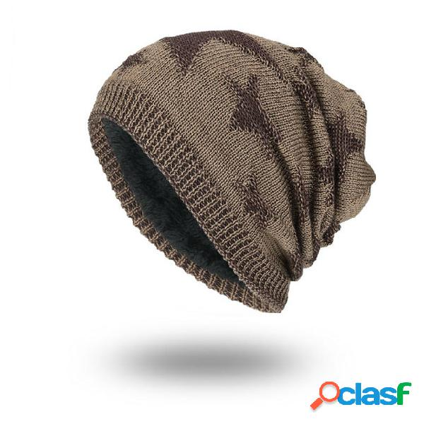 Chapéu malha de lã chapéu temporada plus quente cabeça estrela de cinco pontas masculino ao ar livre chapéu