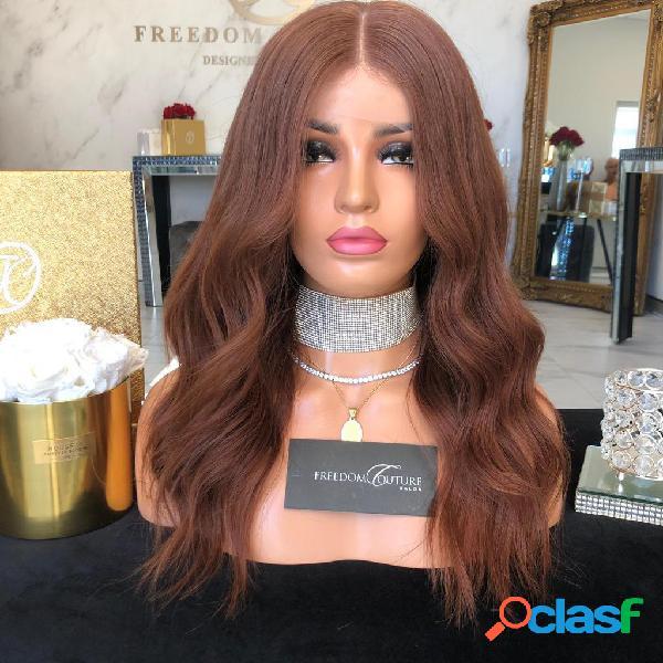 Contagem média marrom escuro macio médio longo encaracolado cabelo laço dianteiro em fibra química peruca