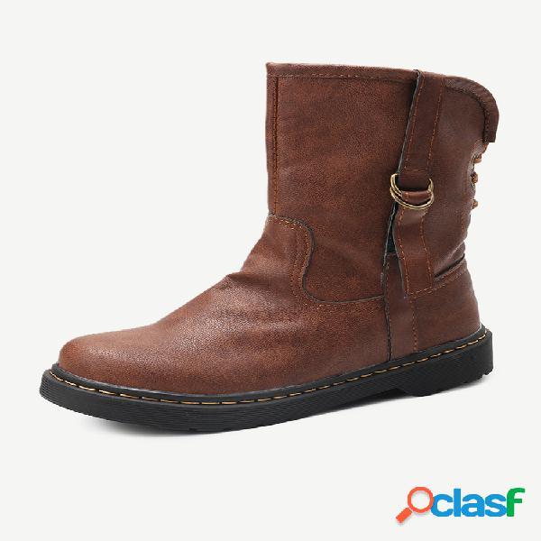 Botas curtas lisas tamanho plus feminino retrô redondo dedo do pé redondo com tiras