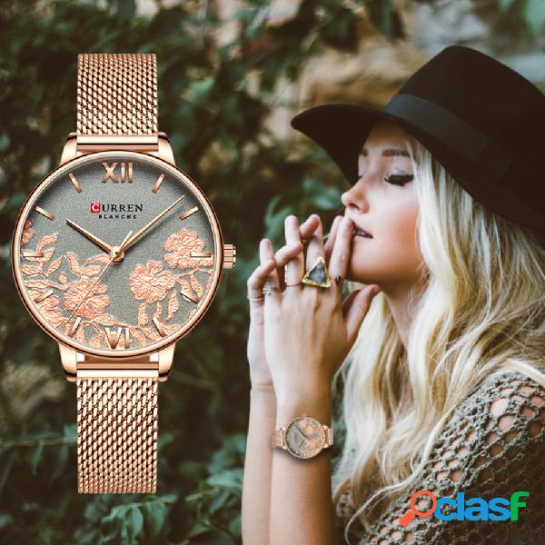 Relógio de quartzo rosa estereoscópico geométrico na moda relógio de pulseira de aço inoxidável de luxo