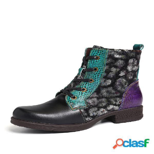 Socofy feminino em relevo couro genuíno com costura plana e confortável com zíper botas curtas