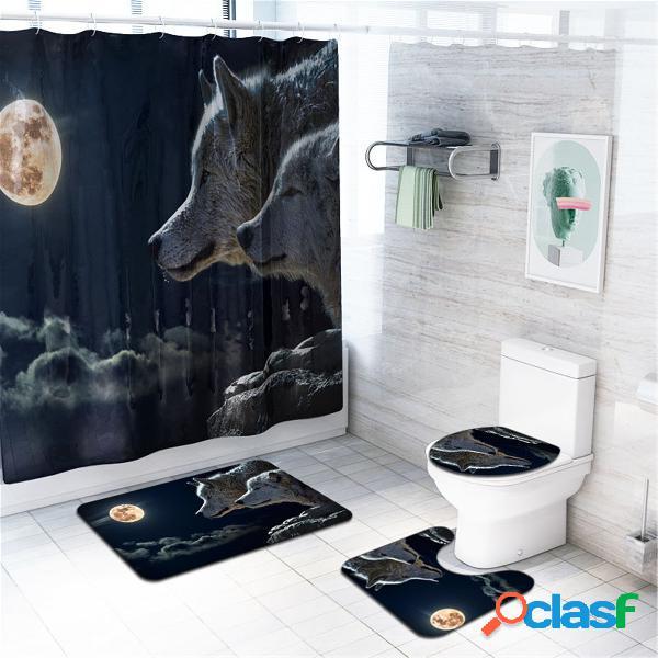 4 pcs wolf banheiro conjunto de tapete de banho tapetes tampa de vaso sanitário cortina de chuveiro à prova d'água