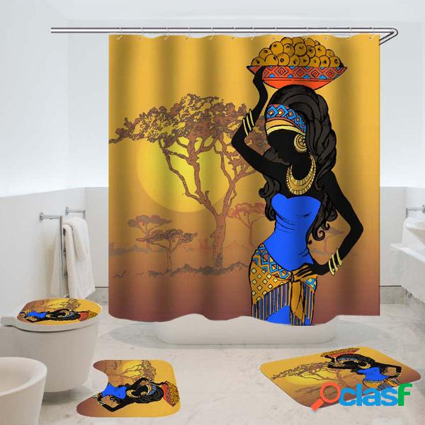 Exotic african girls banheiro cortina de chuveiro tapete de cobertura de banheiro tapete antiderrapante