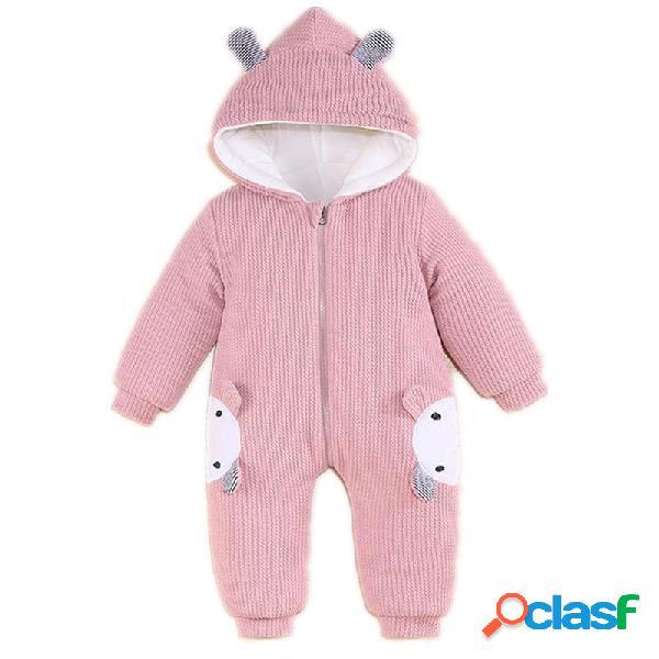 Bebê urso coelho padrão algodão com capuz mangas compridas macacão casual para 0-24m