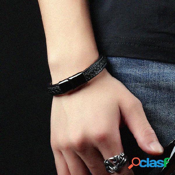 Bracelete geométrico moderno na moda bracelete de couro para homens casuais jóias vintage para homens