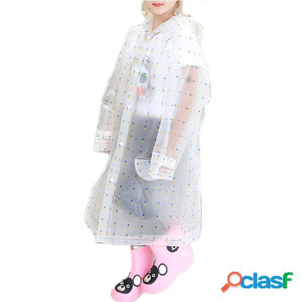 Capa de chuva de eva com capuz transparente para meninas e meninos da criança de 8 a 15 anos