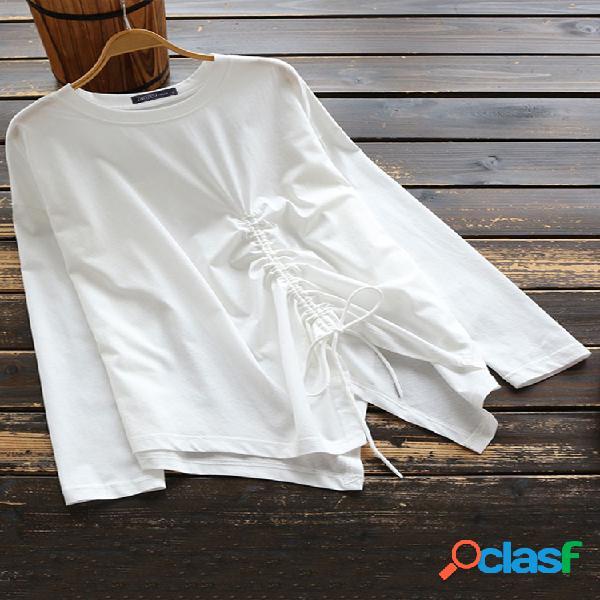 Casual pure color lacing split irregular o-neck manga comprida mulheres camisa