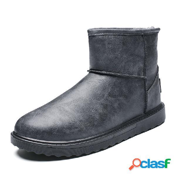 Homens confortável forro quente à prova d'água deslizamento dedo do pé redondo em botas de neve casuais