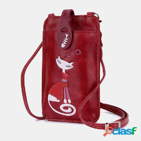 Mulheres crossbody bolsa gato bonito padrão telefone da bolsa bolsa