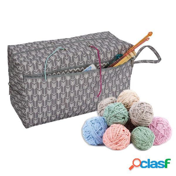 Armazenamento de lã de ferramenta de crochê bolsa armazenamento de algodão bolsa