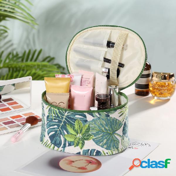 Creative planta print cosmetic bolsa travel wash bolsa algodão canvas storage bolsa grande capacidade
