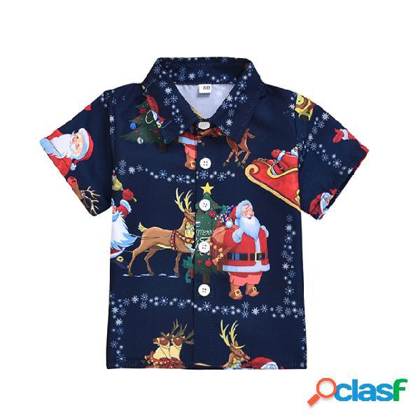 Meninos da criança natal elk imprimir mangas curtas casual tops para 1-7a