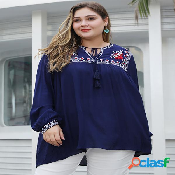 Blusa de manga comprida com cordão plus e cordão bordado