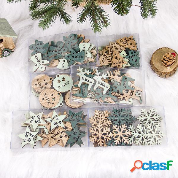 24 peças criativas de madeira vazada enfeite de natal decoração da árvore de natal diy decoração de natal