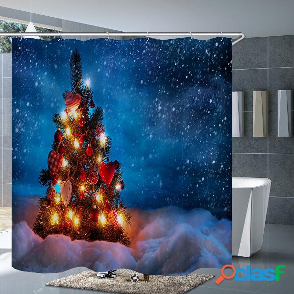 3pcs mat set banheiro tampa da sanita da cortina de chuveiro da árvore de natal