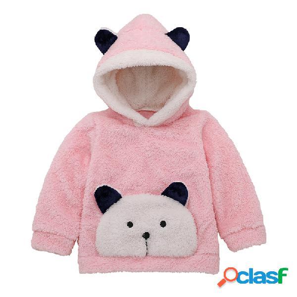 Bebê bonito panda mangas compridas camisola casual de inverno cashmere para 0-24m