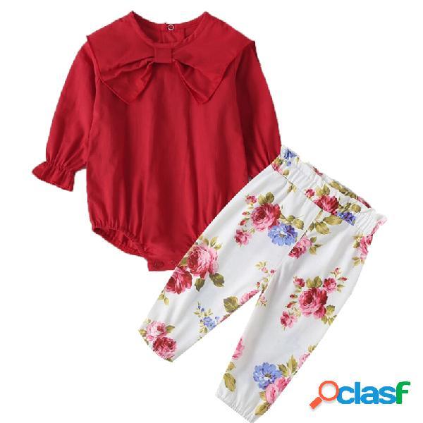 Conjunto de roupas casuais de mangas compridas de flor de bowknot do bebê para 0-18m