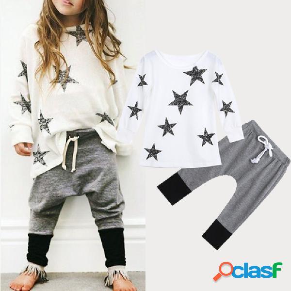 Estrela da menina padrão star casual suit manga comprida para 2-9a