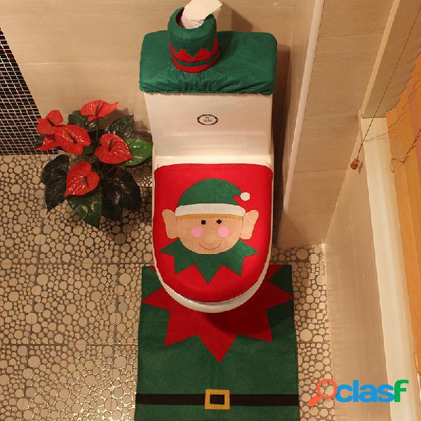 3pcs duende de natal padrão mat cover cover home set banheiro decoração de natal