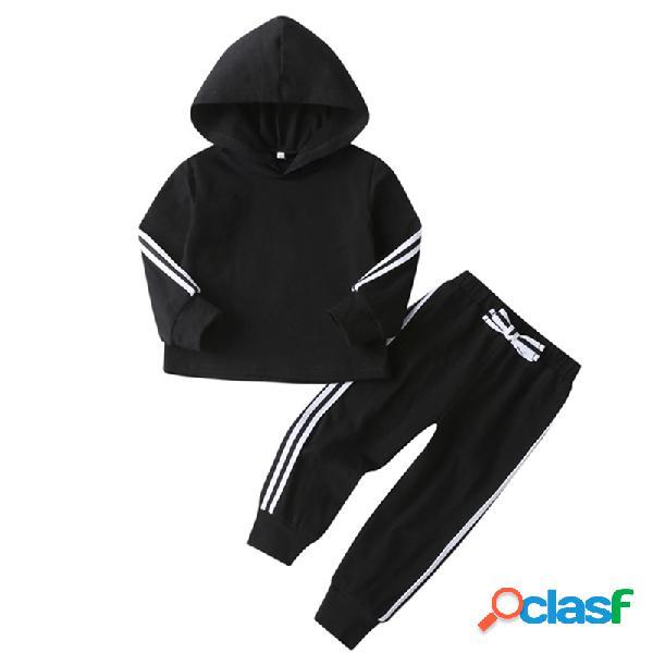 Conjunto de roupas de mangas compridas com capuz listrado de cor sólida para menina e menino para 1-7a