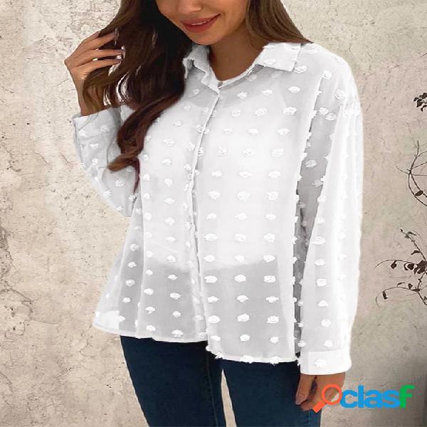 Jacquard cor sólida manga longa plus tamanho camisa para mulheres