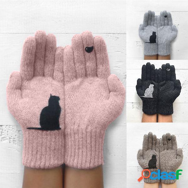 Luvas de lã feminino outono inverno ao ar livre quente frio acolchoado gato pássaro impressão luva
