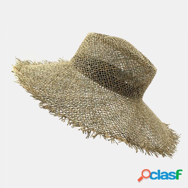 Verão ao ar livre feminino à beira-mar praia chapéu jazz chapéu palha de proteção solar chapéu sol chapéu