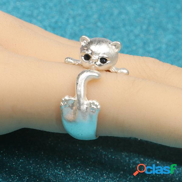 Anéis ajustáveis de gato geométrico de metal na moda anel de abertura de gato bonito