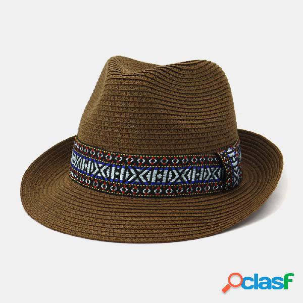 Homens e mulheres vento britânico palha de jazz pequeno chapéu protetor solar à beira-mar ao ar livre sol chapéu