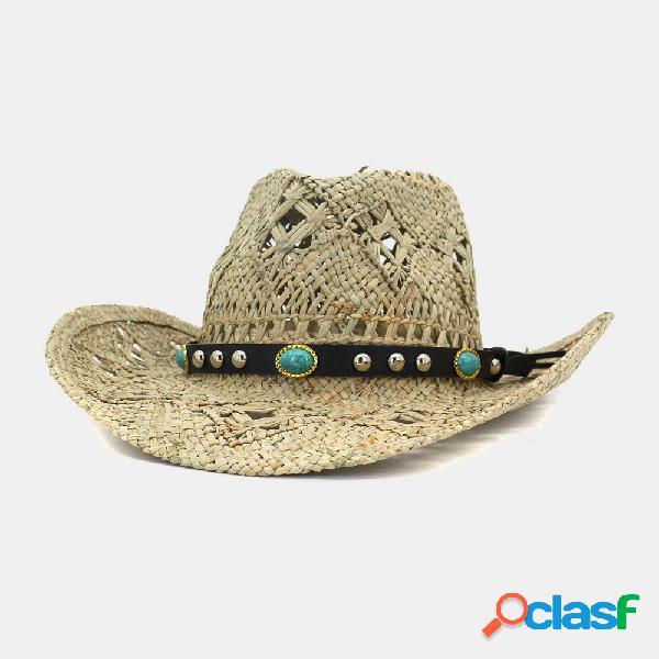 Salty handmade cowboy chapéu palha natural chapéu protetor solar sun chapéu