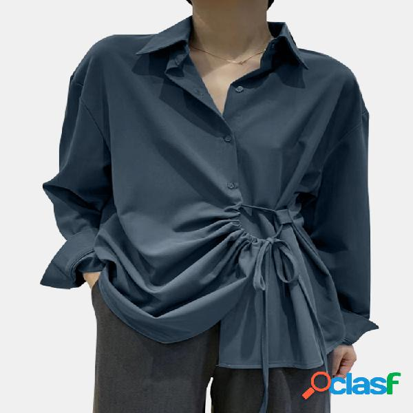 Cor sólida lace up turn-down collar manga comprida irregular camisa