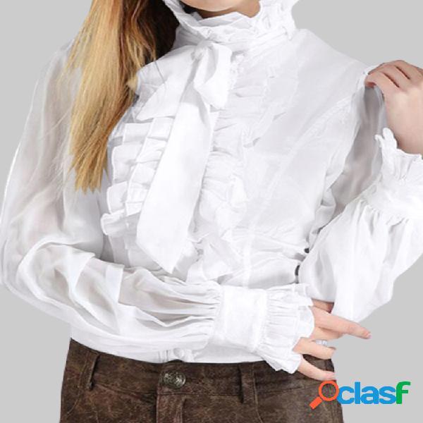 Gola babados de cor sólida manga comprida com babados vintage camisa