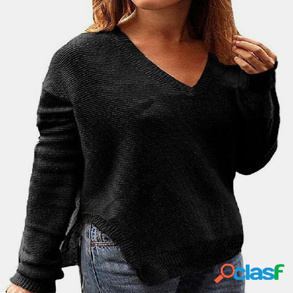 Cor sólida manga comprida com decote em v camisola de divisão para mulheres