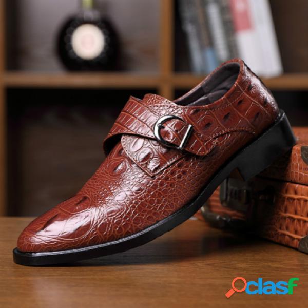 Homens couro crocodilo padrão ratro sapatos de negócios formais